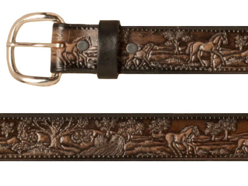 Belt - Horses Country Scene - Dark Brown Leather - USA Made