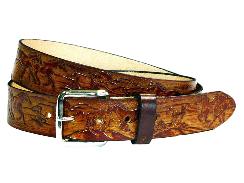 Made in the USA - Brown Leather Belt with Horses