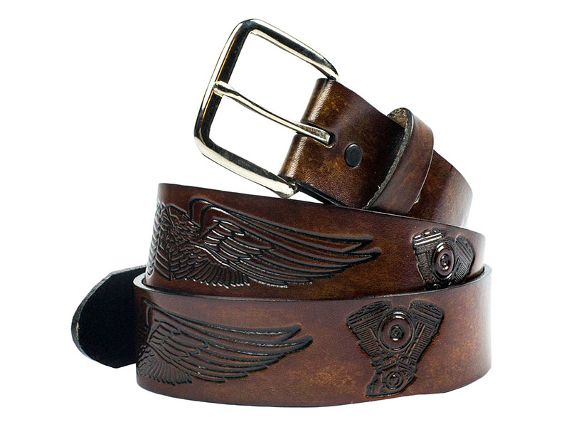 Made in the USA - Brown Leather Belt with Wings & Engines