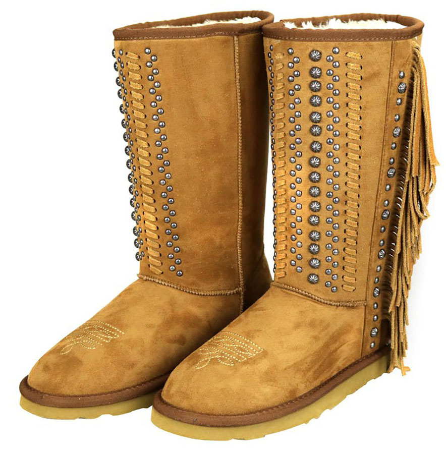 44% OFF Closeout Boots w/Leather Fringe & Studs -Brown