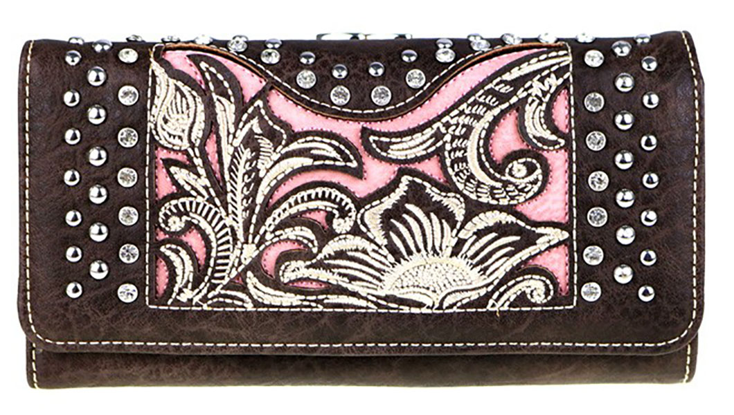 Closeout  -Ladies' Wallet - floral - rhinestones - studs - coffee/pink  d