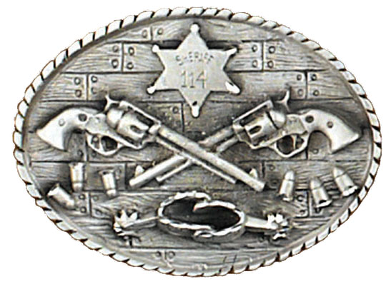 Crossed Guns and Spurs Sheriff Buckle 3-1/4 x 2-1/2 Made in USA